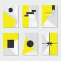 Yellow, gray, and white dotted backgrounds cards templates set Royalty Free Stock Photo
