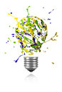 Yellow green blue paint burst made light bulb Royalty Free Stock Photo