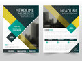 Yellow green business Brochure Leaflet Flyer annual report template design, book cover layout design, Royalty Free Stock Photo