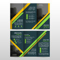 Yellow Green business trifold Leaflet Brochure Flyer report template vector minimal flat design set, abstract three fold