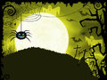 Yellow green halloween background with scary spider full moon bats ghosts crosses and grunge elements Stock Image