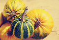 Yellow and green pumpkins