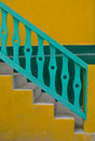 Yellow and green stairs Royalty Free Stock Photo