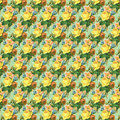 Yellow and green vintage rose flower wallpaper background repeat Royalty Free Stock Photo
