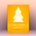 Yellow greeting card background with christmas tree this is file of eps format Stock Photo