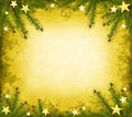 Yellow grunge border with spruce and stars Royalty Free Stock Photography