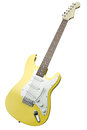 Yellow guitar electric isolated on white background d render Stock Photography