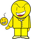 Yellow guy cartoon character with white isolated background Royalty Free Stock Photos