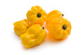 Yellow habanero on white background Stock Images