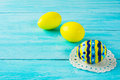 Yellow hand-painted Easter eggs Royalty Free Stock Photo