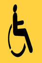 Yellow handicap sign black on background Royalty Free Stock Photos