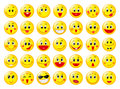 Yellow happy round emoticon faces vector set