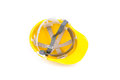 Yellow hard hat inside Stock Photos