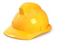 Yellow hard hat isolated on white Stock Photography