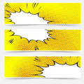 Yellow header book comic explosion banner vector illustration Royalty Free Stock Photo