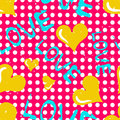 Yellow heart and an inscription love seamless pattern
