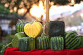 Yellow heart shaped watermelon kanjanaburi thailand Stock Image