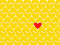 Yellow hearts and one red heart Stock Image
