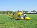 Yellow helicopter  ready to take off Royalty Free Stock Images