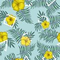 Yellow hibiscus leaves blue tone triangle square round seamless