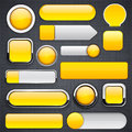Yellow high-detailed modern buttons. Stock Photo