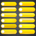 Yellow high-detailed modern web buttons. Stock Photo