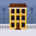 Yellow house on winter street