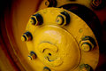 Yellow hubcap a from a school bus Royalty Free Stock Images