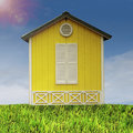 Yellow Hut on Field Stock Photo