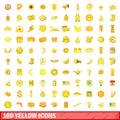 100 yellow icons set, cartoon style