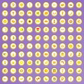 100 yellow icons set in cartoon style