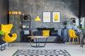 Yellow interior decor for teenager