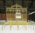 Yellow iron gate. Royalty Free Stock Image