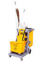 Yellow janitor cart isolated over white background Stock Image