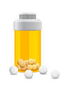 Yellow jar with the white pills in Royalty Free Stock Images