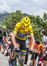 Yellow jersey on alpe d huez france july the british cyclist christopher froome wearing the followed by alejandro valverde in a Royalty Free Stock Images