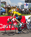 Yellow jersey christopher froome col de val louron azet france july the british cyclists sky procycling team wearing the passing Stock Photo