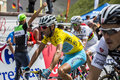 The yellow jersey vincenzo nibali col du lautaret france july team astana wearing arrives on mountain pass lautaret during Royalty Free Stock Photo