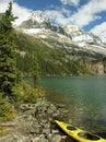 Yellow kayak at lake o hara yoho national park canada british columbia Royalty Free Stock Photos