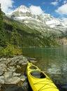 Yellow kayak at lake o hara yoho national park canada british columbia Royalty Free Stock Photography