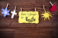 Yellow Label With Life Quote Dont Forget To Smile Royalty Free Stock Photo