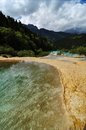 Yellow lakes on the mountains in huanglong beauty spot Stock Images