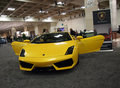 Yellow Lamborghini Car with Doors open Royalty Free Stock Images