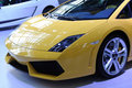 Yellow lamborghini sport car front Royalty Free Stock Image