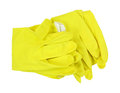 Yellow latex gloves folded a pair of sturdy top view on a white background Stock Image