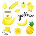 Yellow. Learn the color. Education set. Illustration of primary colors.