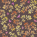 Yellow leaves, cute birds. Watercolor autumn seamless pattern, naive style Royalty Free Stock Photo