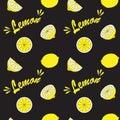 Yellow lemon on black field.