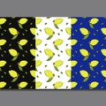 Yellow lemon fruits with green leaves isolated on colorful background in beautiful style.Pattern