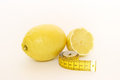 Yellow lemons with measure Stock Photography